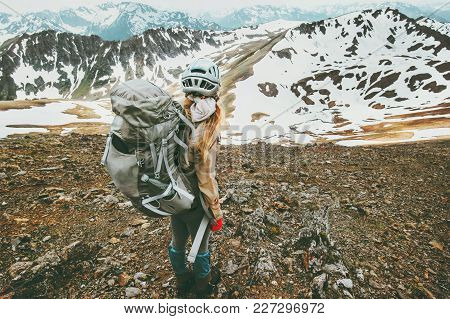 Traveler Woman With Backpack Hiking In Mountains Traveling Lifestyle Adventure Concept Active Vacati