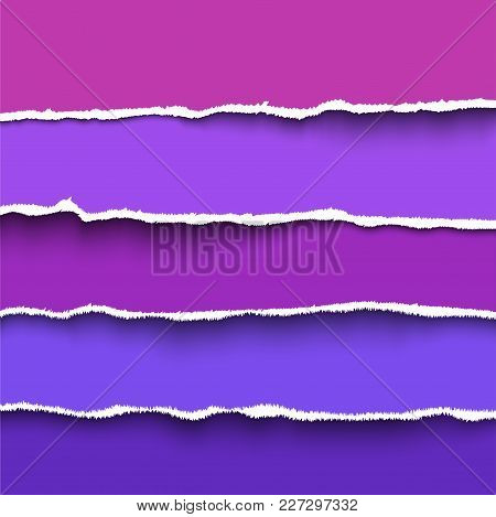 Ultra Violet Modern Torn Paper Pieces With Ripped Edges Placed One Over Another, Realistic Vector Pa