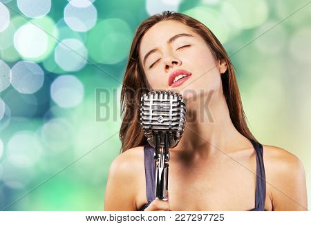 Young Sing Woman Singing Young Woman Studio Shot Disco Dancing