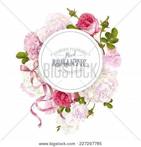 Vector Vintage Floral Round Banner With Peony, Hydrangea, Rose Flowers And Ribbon. Romantic Design F