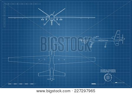 Blueprint Of Military Drone In Outline Style. Top, Front And Side View. Army Aircraft For Intelligen