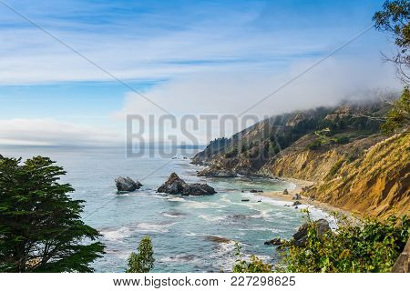 Big Sur State Park Coastline In Central California, Usa