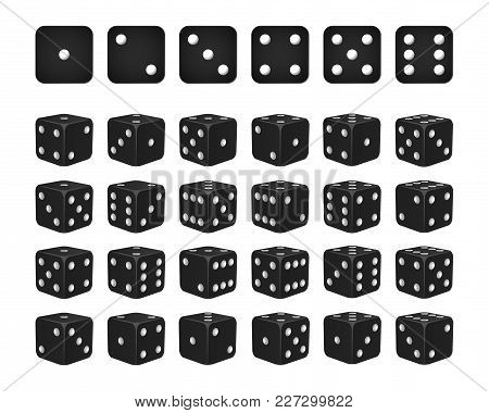 Set Of 24 Icons Of Dice In All Possible Turns - Black Cubes With White Pips Isolated On White Backgr
