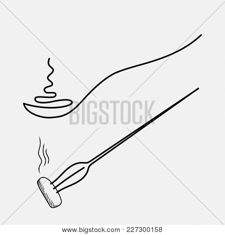 Spoon With Hot Food, Drawing One Line. Fork With A Piece Of Hot Food. Sketch Handmade Spoon And Fork