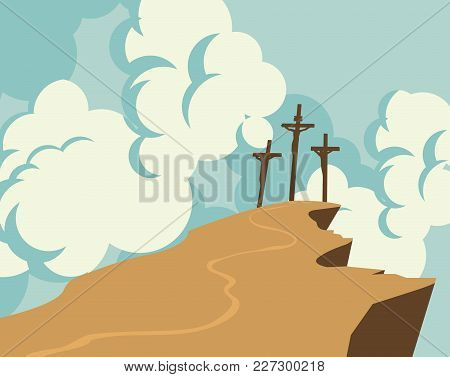 Vector Banner On Easter Or Good Friday. Landscape With Mount Calvary And Three Crosses With Crucifie