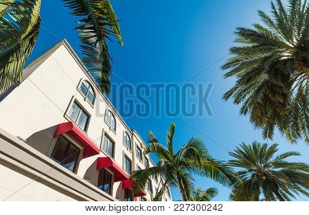 Palm Trees And Elegant Buildings In Beverly Hills. Los Angeles, California