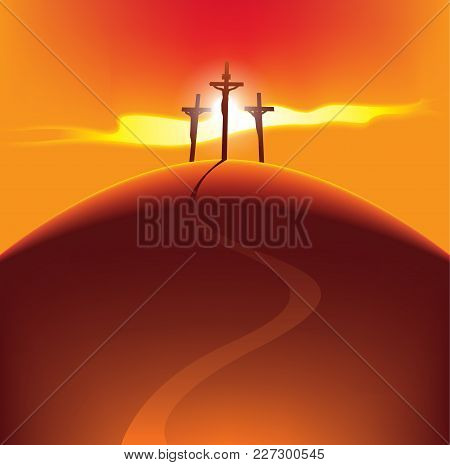 Vector Banner For Easter Or Good Friday. Landscape With Three Crosses On A Hill With A Road With Cru