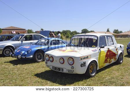 Bagard, France - July 9, 2016: Renault 8 Gordini Racing Equipped With Red Bull Advertising On The Si