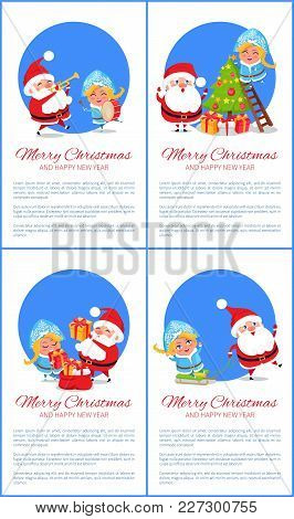 Merry Christmas And Happy New Year Posters With Santa And Snow Maiden Playing On Trumpet And Drum, P