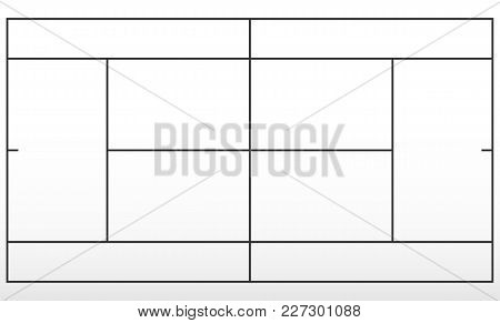 Tennis Field. Template Tennis Court Black Lines. Vector Illustration.