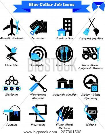 Vector Illustration Ready-to-use 16 Blue Collar Job - Black And Blue Flat Icons As Multiple Professi