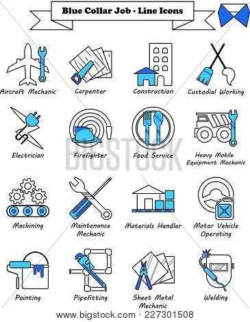 Vector Illustration Ready-to-use 16 Blue Collar Job - Line Icons Designed As Multiple Professions In