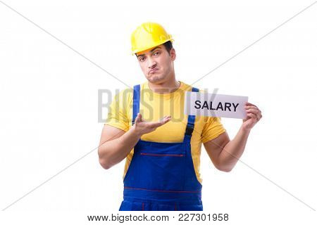 Repairman asking for pay rise isolated on white