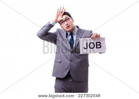 Businessman in recruitment concept isolated on white background