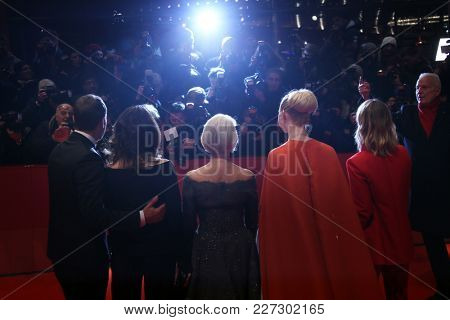 Heike Makatsch, Elle Fanning, Helen Mirren, Iris Berben and Wotan Wilke Moehring attend the  'Isle of Dogs' premiere during the 68th Berlinale at Palace on February 15, 2018 in Berlin, Germany.
