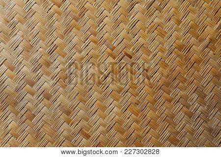 Brown Woven Bamboo Mat Close Up Texture