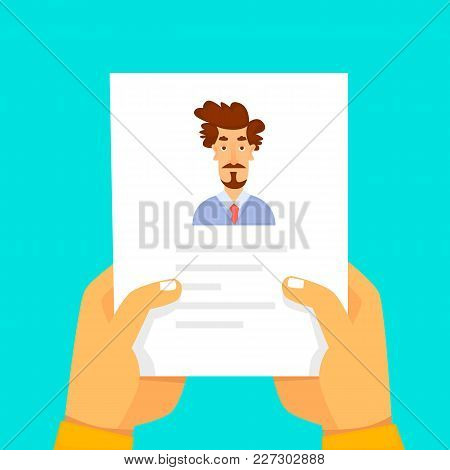 Resume On Job Search. Flat Design Vector Illustration.