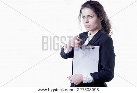 Time To Work. Portrait Of Young Attractive Female Recruiter Holding Paper And Waiting For Job Interv