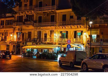 La Maddalena Seafront By Night. Sardinia, Italy