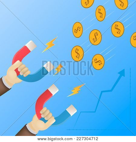 Money Attraction Flat Isometric Low Poly Vector Concept. Businessman Is Holding Big Magnets Witch Le