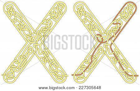 Maze In The Shape Of Capital Letter X - Worksheet For Learning Alphabet