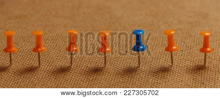 Stationary, Blue Pushpin In Row With Orange, Concept For Difference, Individuality, Leadership. Copy