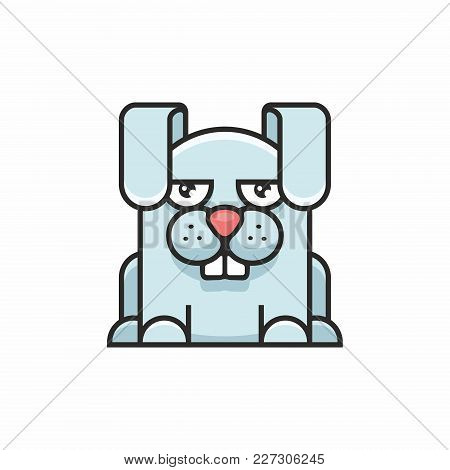 Cute Hare Icon On White Background. Vector Illustration