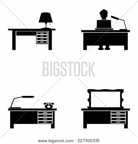 Isolated Black Desk Icons Set On White Background