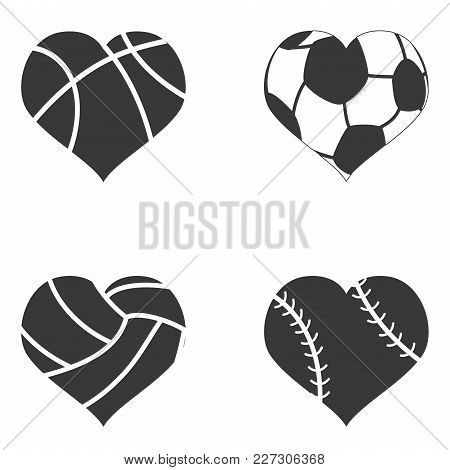 Isolated Black Color Heart Ball Icon From White Background