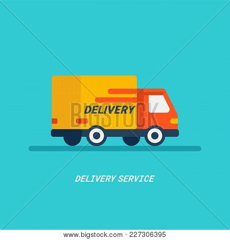 Delivery Service. Delivery By Car Or Truck. Parcels Express Delivery Service By Car. Flat Style Desi