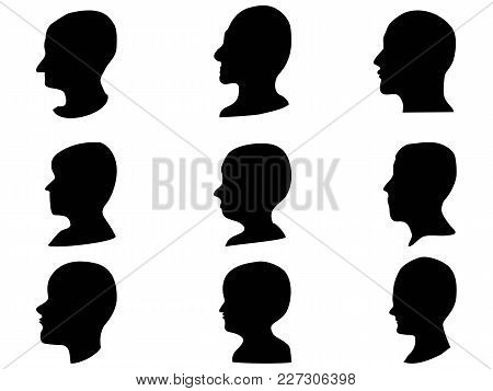 Isolated Man Head Profile Set From White Background