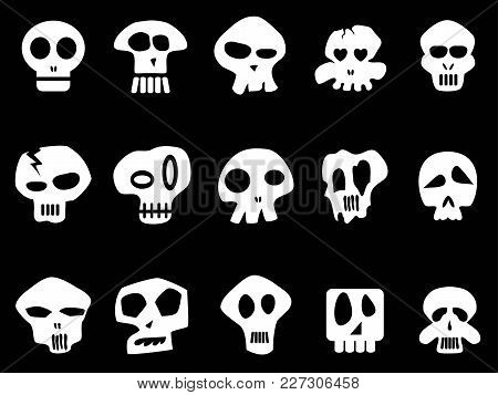 Isolated White Funny Skull Icons From Black Background