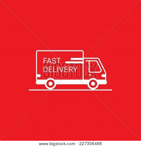 Line Icon- Fast Delivery. Van Outline Icon On Red Background. Delivery Service. Delivery By Car Or T