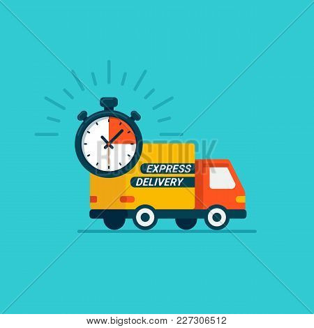 Express Delivery Service. Delivery By Car Or Truck. Parcels Express Delivery Service. Flat Style Des