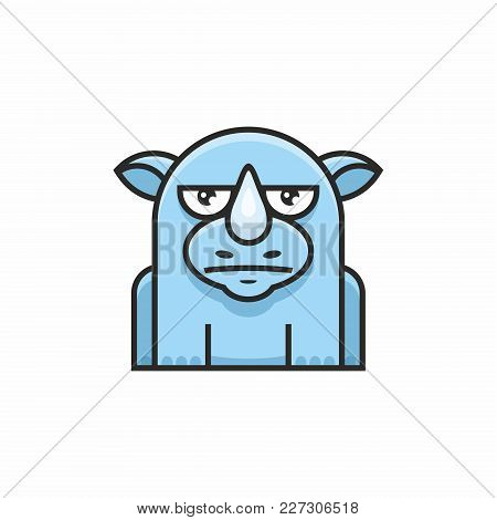 Cute Rhinoceros Icon On White Background. Vector Illustration