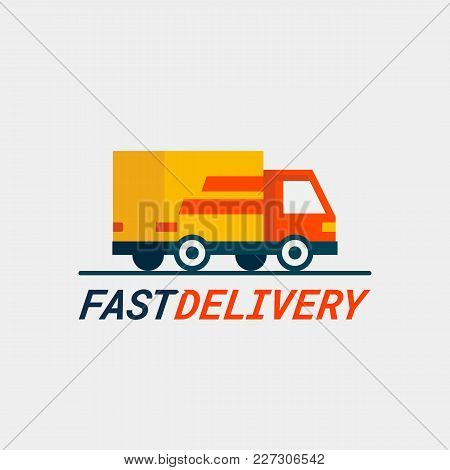 Fast Delivery Service. Delivery By Car Or Truck. Parcels Express Delivery Service By Car. Flat Style