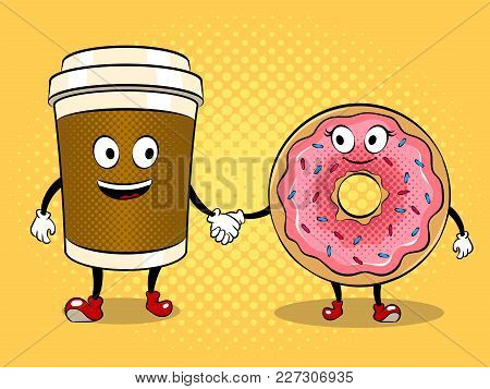 Cartoon Coffee And Donut Holding Hands Pop Art Retro Vector Illustration. Cartoon Character. Color B