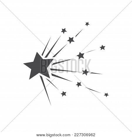 Falling Stars Vector Set With Different Tails. Shooting Star Isolated From Background. Icons Of Mete