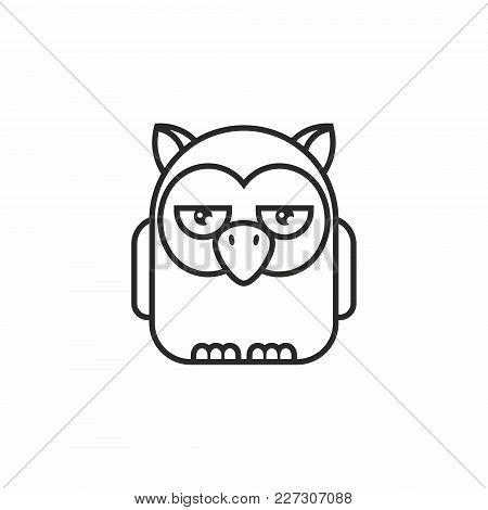 Cute Owl Icon, Thin Line Style, Flat Design