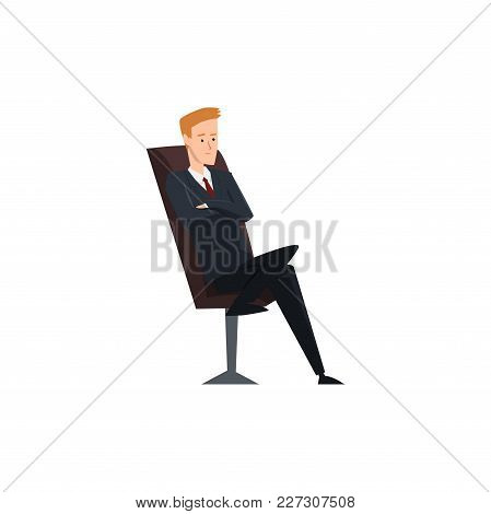 Businessman, Office Worker Or Manager Character Sitting On Office Chair With Folded Hands Vector Ill