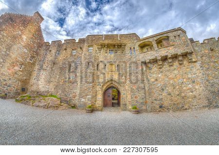 Doorway Of The Eilean Donan Castle From The Internal Yard On Side Entrance In Dornie Town, Scotland,