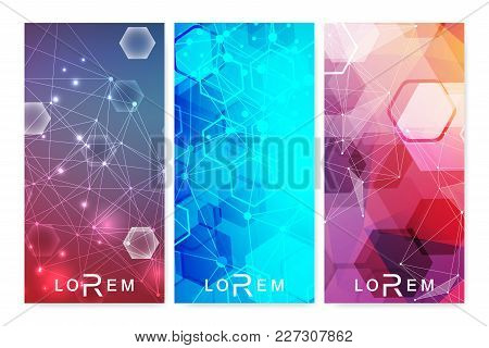 Modern Set Of Vector Flyers, Banners. Geometric Abstract Presentation. Molecule And Communication Ba