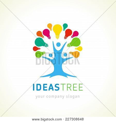Ideas Tree Logo, Human Tree Creative Vector Template. New Idea Symbol With People Tree Concept And S