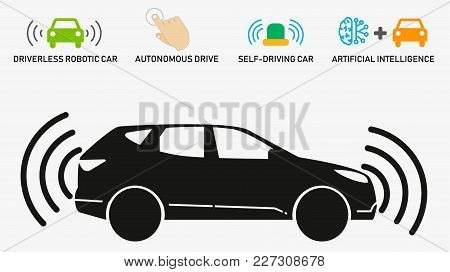 Autonomous Car. Self Driving Vehicle With Radar Sensing System. Driverless Automobile On Road. Artif