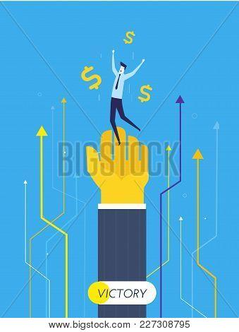 Businessman Jumping For Dollar. Success, Achieving Goals, Pride. Vector Illustration Eps 10 File. Su
