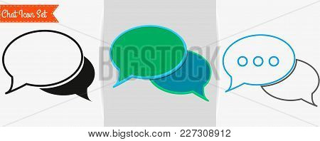 Chat Icon, Chat Logo Template. Chat Icon Set.