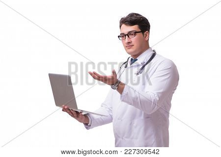 Doctor in telemediine mhealth concept on white