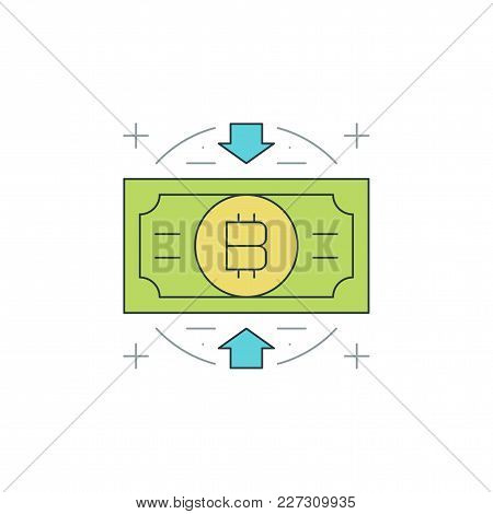 Bitcoin Icon Flat Line Stroke Vector Illustration. For Website Graphics, Mobile Application, Infogra