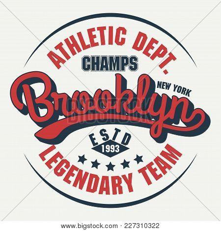 New York Brooklyn Sport Wear Typography Emblem, T-shirt Stamp Graphics, Tee Print, Athletic Apparel