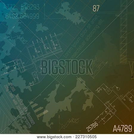 Blueprints With Boiler Plant. Mechanical Construction Steamshop. Engineering Vector Illustrations. T